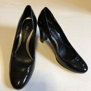 Anne Klein Mavali Black Patent Leather Block Heel